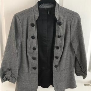 Gray Blazer with Black Buttons